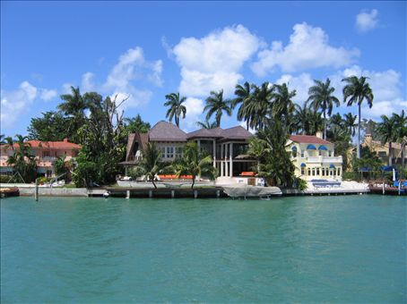 Celebrity houses on the Biscayne Bay islands in Miami - I think they said it was Shaquille O'Neal's place.