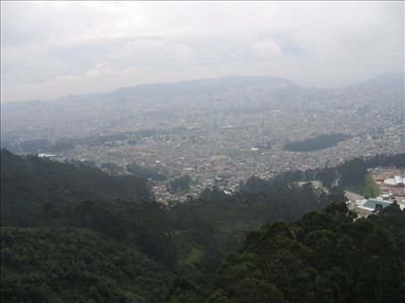 Looking at Quito from a cable car just before we were enveloped in cloud and couldn't see a thing!