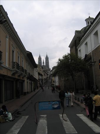 The old town in Quito - the Basilica in the distance provides a reminder of the hard yards we put in to actually get there.