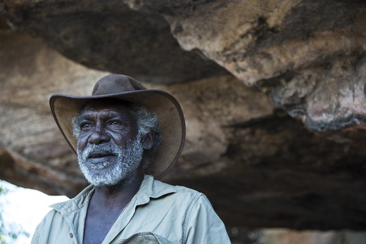 "Garry Djorlom is an Aboriginal elder from Oenpelli, Western Arnhem Land, Northern Territory, Australia. He's a softly spoken character with a warm, friendly nature. Like many Aboriginal elders, he's also a storyteller. ""If you have a story, don't put it in your pocket and leave it there, take it out and share it with your family"". This particular image depicts Garry telling a story about how the echidna got its spikes."