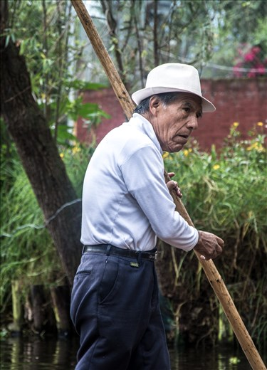 Old rower in a Xochimilco's canal.