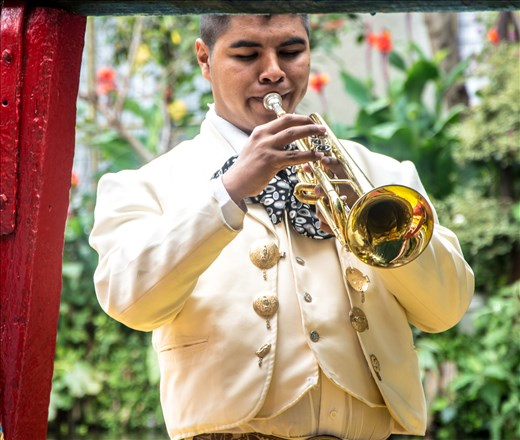Mariachi trumpeter working on a boat.