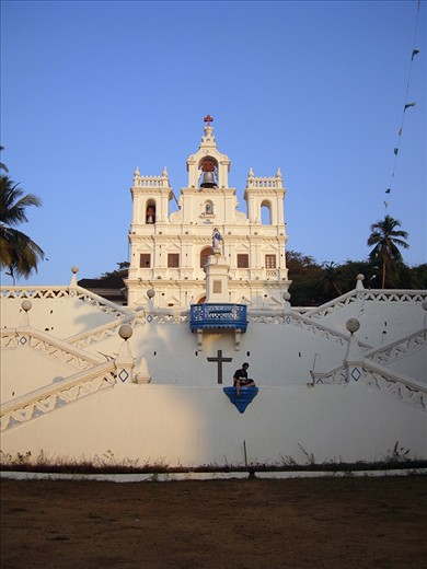 Goa is the smallest state of India,located in West India. The church we see in the snap is PANAJI CHURCH,located in the state capital Panaji. Goa is a former Portuguese province,so people can see old Portuguese architechture here there in the state.Goa is famous for its old churches which was built during the Portuguese rule.