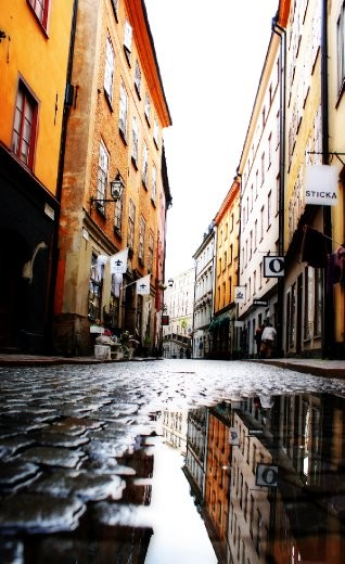 A quiet, cobbled street in Stockholm. The city is home to 22% of the Swedish population, although it's hard to find a crowd in this historic city.