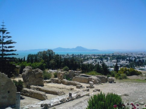 Grounds of Byrsa Hill Museum, with Mediterranean sea in background