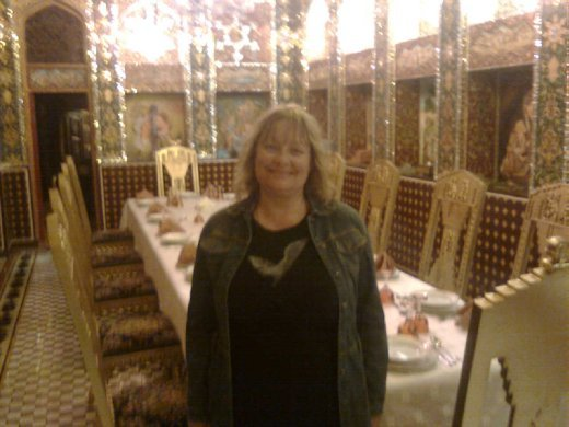 Me at a beautiful Iranian restaurant in Doha, Qatar. The decor was magnificent. The most beautiful rooms. My Couchsurfing host, Trevor from Australia but living in Doha gave me a guided tour with the restaurant owner. We couldn't afford to eat there, I am sure!
