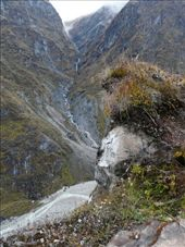View from top of the ridge above Machapuchare Base Camp into the Annapurna glacier valley.: by baba, Views[393]