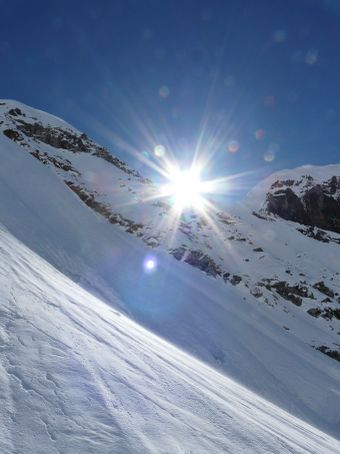 Finally the sun appears over the ridge.