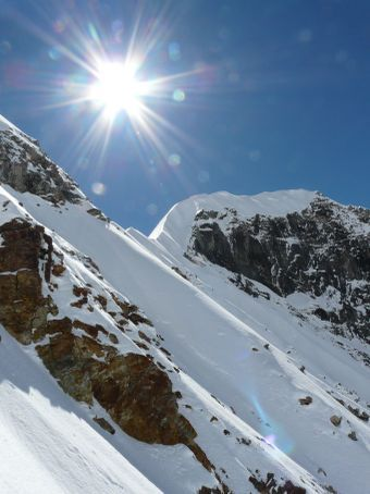View from the wall to the ridge of Tarpu Chuli.
