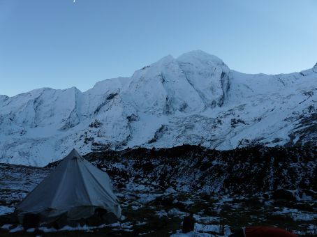 Annapurna Expedition Base Camp within the glacier valley.