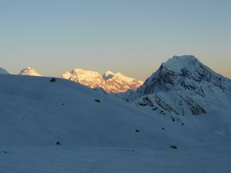Sunset at High Camp with Pisang peak on the right side.