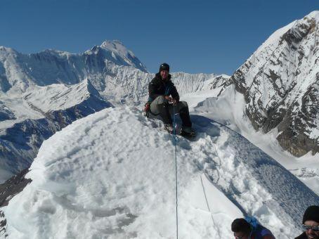 On the ice block near the summit.