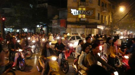 Saturday night in Hanoi's streets of the Old Quartier.