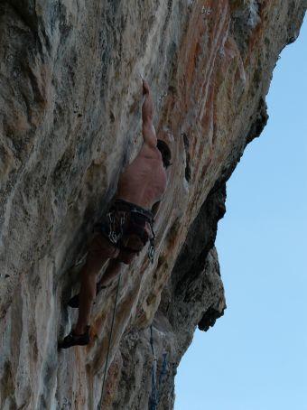 Climbing partner Willis on Orange Juice.