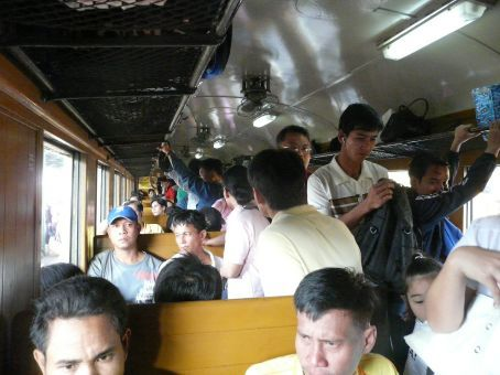 On the very! crowded train from Bangkok to Aranya Prathet at the Cambodia border.