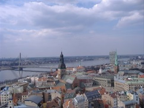 view from st peter's cathedral in Riga