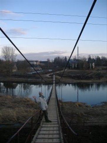 a strange wooden bridge in Bauska.