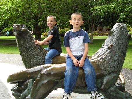 Callum and Declan in Queens Park, Invercargill, New Zealand on Christmas Day 2006