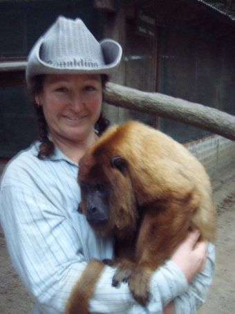 Cuddles with Faustino!  And thats my construction hat!