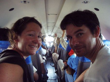 Us finally on our flight to La Paz