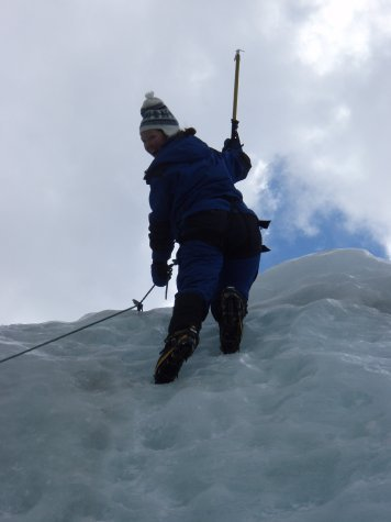 Ange at the top of the ice wall. Pretty happy about it too.