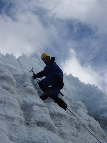 Me looking much happier now that i have conquered the higher ice wall