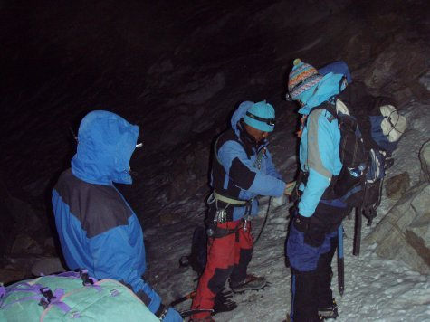 Getting all geared up at one in the morning ready to start the final climb