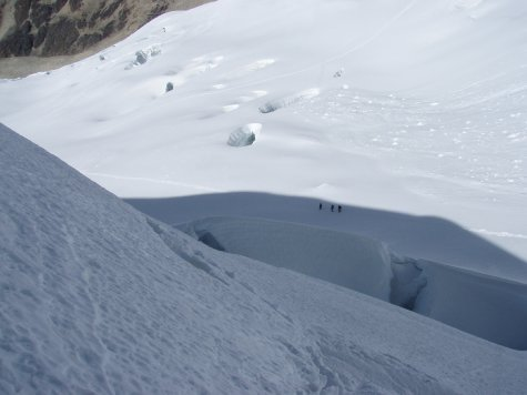 Some of the holes in the glacier are huge,, and you never know if you´re walking right above one.