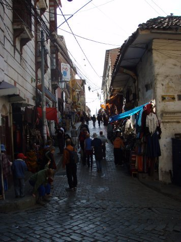 One of the many narrow streets of La Paz filled with people selling anything and everything