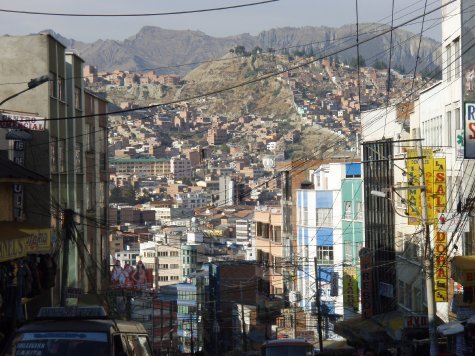 La Paz is in the bowl of a canyon so where ever you look is buidings