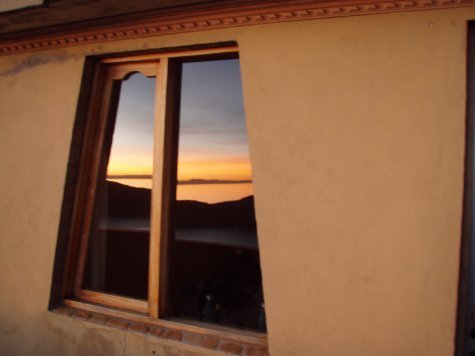 Fancy arty sunset shot.  Window of our room on the island.
