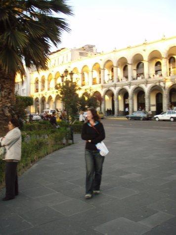 Ange walking through the plaza at Arrequipa