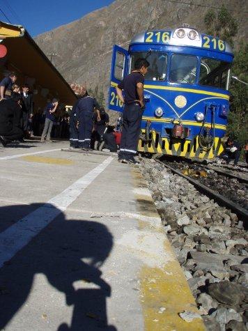 Train meets concrete.  Concrete wins