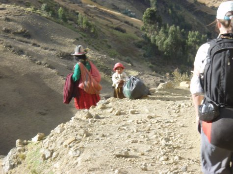Trekking by the Peruvians in their every day life.  What a contrast!