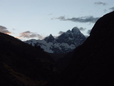 Suns sinking below the mountain peaks and we`re still trekking!  Where did we pack the torch?