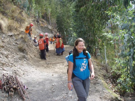 Trail workers on the way back to town.  Trekking between villages on a thoroughly NON-gringo trail is such a treat!