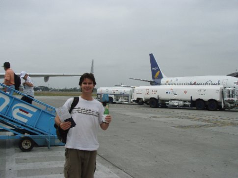 The kerfuffle with our flight was amusing - but strolling out on the busy tarmac to our plane with beer in hand was just plain hilarious!