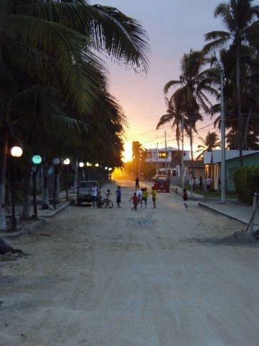 Streets of Villamil (Isla Isabella`s town) at dusk.