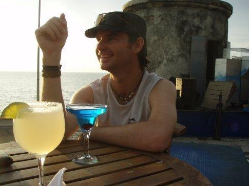 Post bus-trip rewards.  Bar on the old fort walls around old-town Cartagena