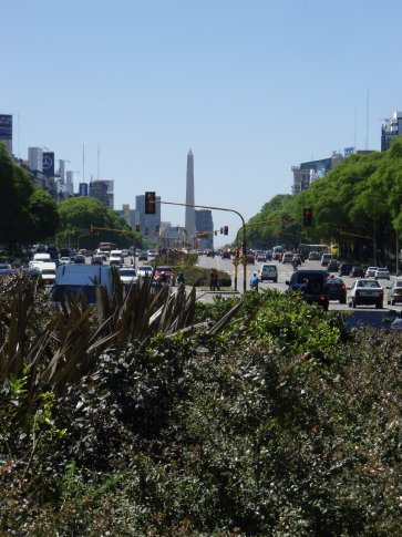 Avenida 9 de Julio.  Only about 12 lanes wide!  Can`t do it in one light change unless you run!  Now THATs a road.