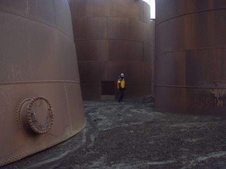 Deception Island.  Old whaling station (on an active vocanic island!)  These are whale oil tanks.