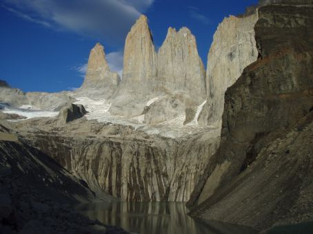 The Torres are huge!! Rising up in shear spires above a glacier lake