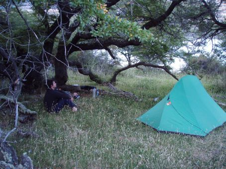 Our little tent in it´s illegal camping spot