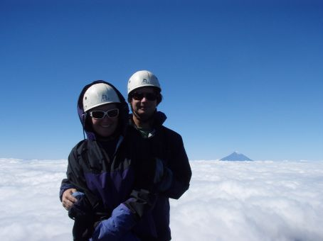 Top o' the world!  Argentinian volcano in the background.