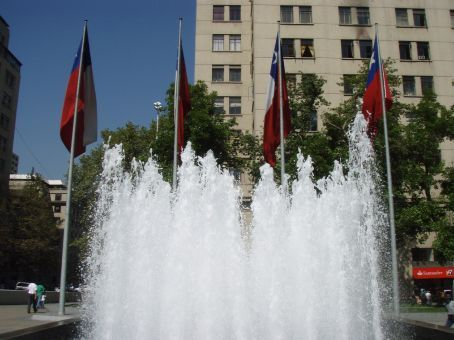 Fountain with Chile´s flag. Um not much else to say