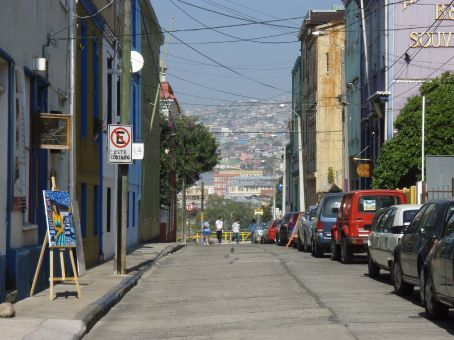 A view down on the streets looking into the hills