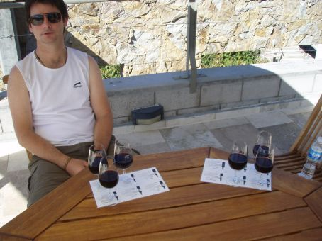 It´s bloody hard work. This was our fourth winery and they served ¨flights¨ of wine, basically about a full glass. It cost us 45 pesos (about 15 dollars) for six glasses of red. After this we decided we´d better be going home. Did i mention the trucks that went passed us on the skinny road?