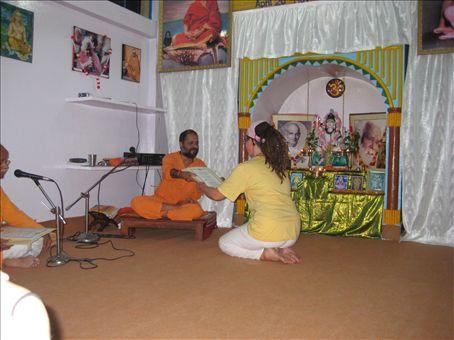 Om Namah Shivaya!  Swami-ji offers me my TTC Certificate... Wonderful!
