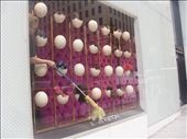 Avestruz's eggs at Louis Vuitton's vitrine with girl mopping. 5th Avenue: by baskets_in_a_ring, Views[574]