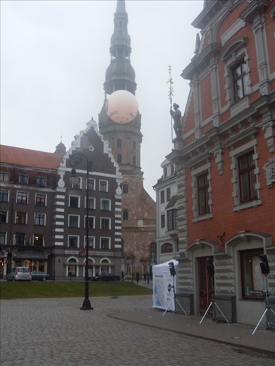 Downtown. Red Town Hall besides